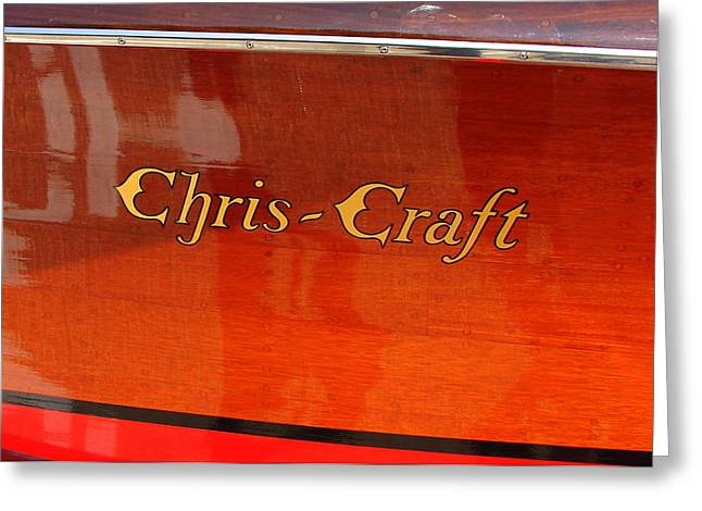 Old Boat Greeting Cards - Chris Craft Logo Greeting Card by Michelle Calkins
