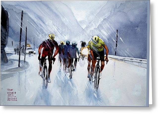 Chris Froome And Others In Rain And Ice Greeting Card