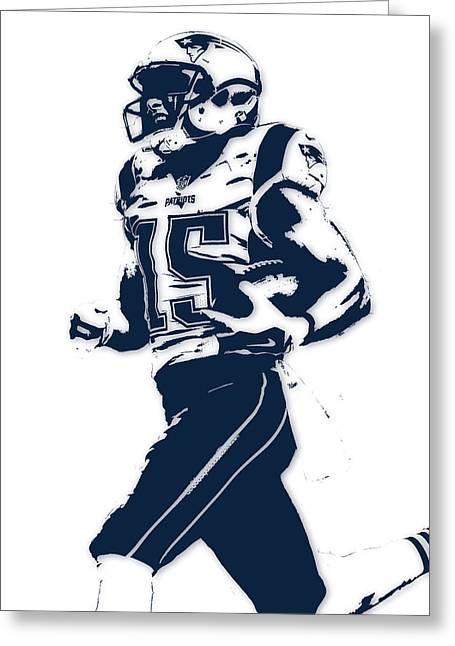 Chris Hogan New England Patriots Pixel Art Greeting Card by Joe Hamilton