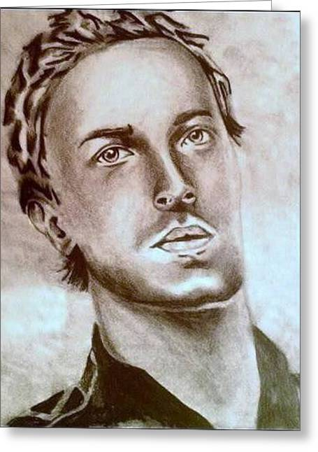 Chris Martin Greeting Card by Pauline Murphy