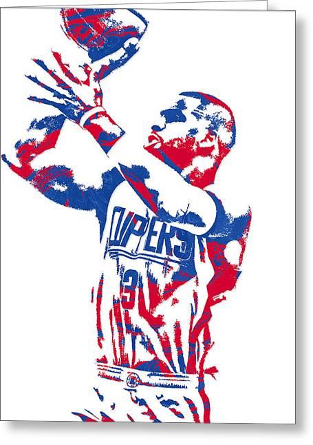 Chris Paul Los Angeles Clippers Pixel Art 4 Greeting Card by Joe Hamilton