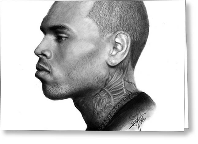 Chris Brown Drawing By Sofia Furniel Greeting Card