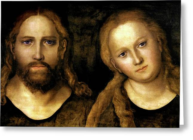 Christ And Mary Greeting Card by Lucas Cranach the Elder
