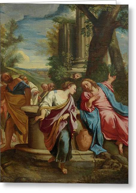 Christ And The Samaritan  Greeting Card