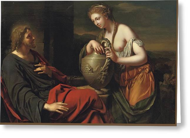 Christ And The Samaritan Woman Greeting Card by Adriaan van der Werff