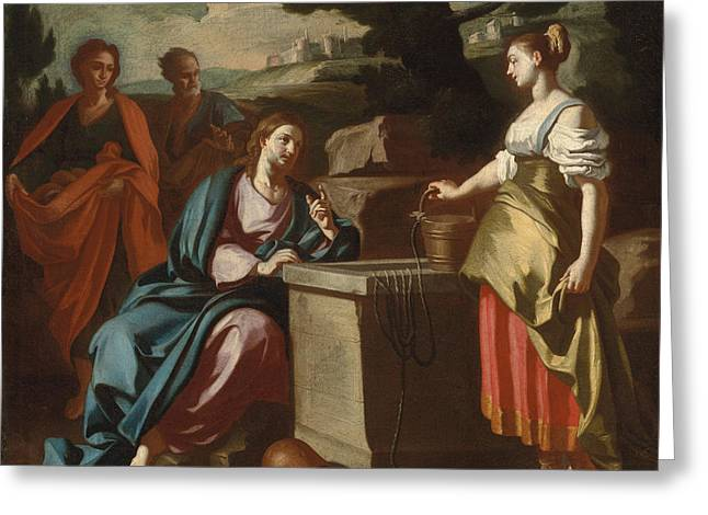 Christ And The Woman Of Samaria At The Well Greeting Card