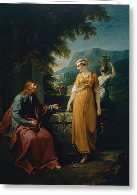 Christ And The Woman Of Samaria Greeting Card by Mountain Dreams