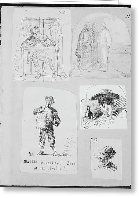 Christ And Two Disciples On The Road To Emmaus From Sketchbook Greeting Card by James McNeill Whistler