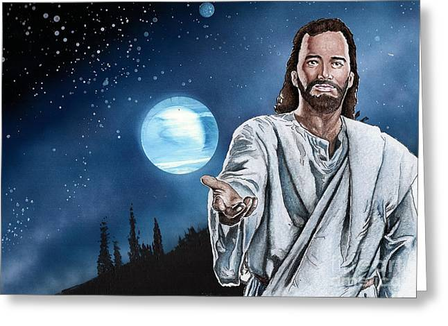 Christ At Night Greeting Card by Bill Richards