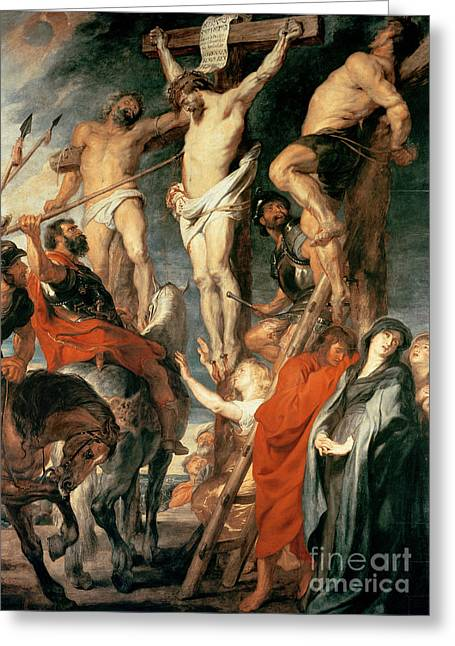 The Wooden Cross Greeting Cards - Christ Between the Two Thieves Greeting Card by Peter Paul Rubens