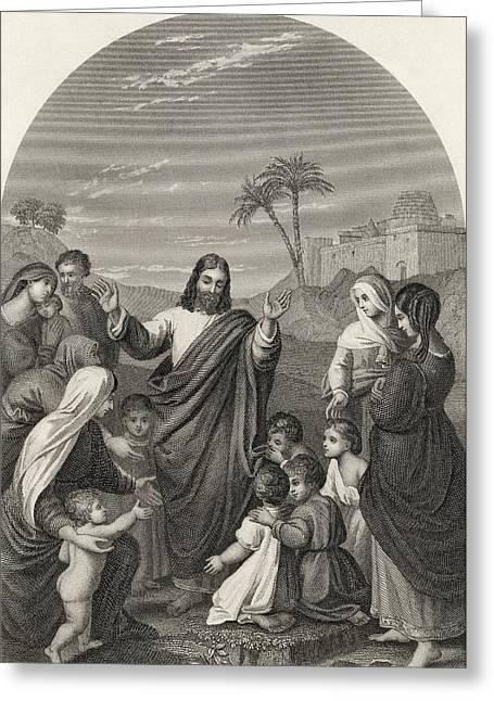 Christ Blessing The Little Children Greeting Card