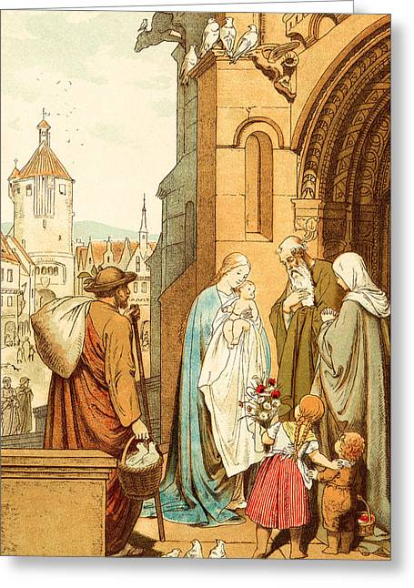Christ Brought To Jerusalem Greeting Card by Victor Paul Mohn