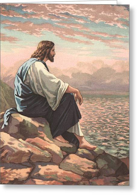Christ By The Sea Greeting Card by American School