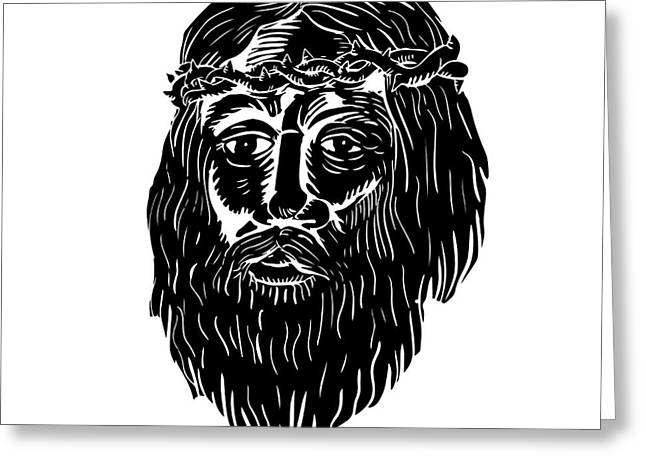 Christ Crown Of Thorns Woodcut Greeting Card