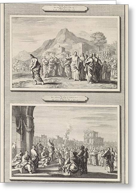 Christ Gives Advice To A Rich Young Man And The Sermon Of Christ To The Temple, Jan Luyken, 1700 Greeting Card