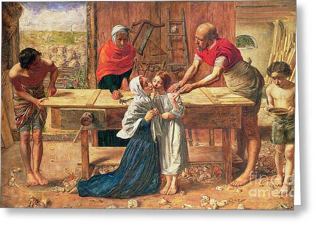 Carpenter Greeting Cards - Christ in the House of His Parents Greeting Card by JE Millais and Rebecca Solomon