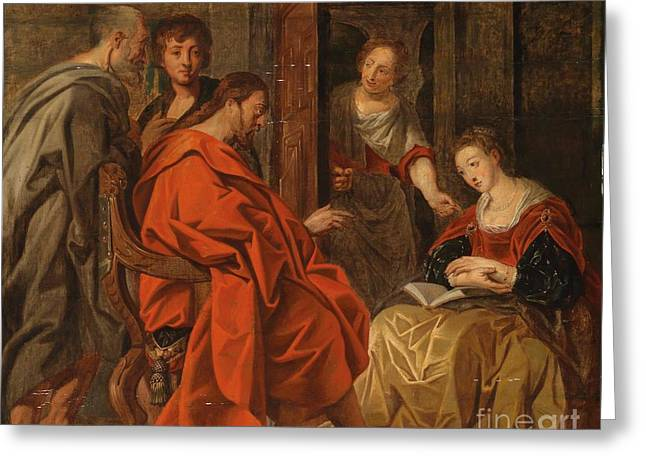 Christ In The House Of Mary Martha And Lazarus Greeting Card by Circle of Jacob Jordaens