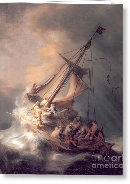 Christ In The Storm Greeting Card by Rembrandt Van Rijn