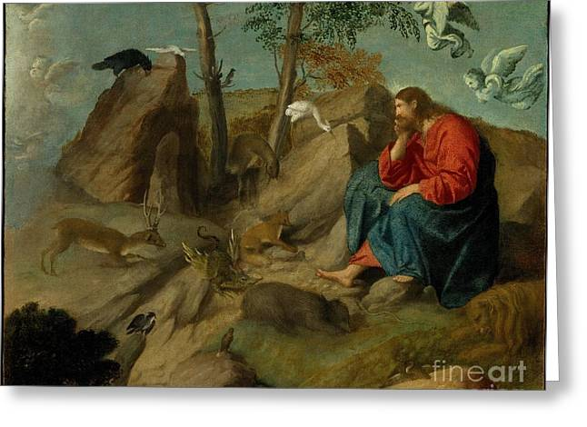Christ In The Wilderness Greeting Card by Celestial Images