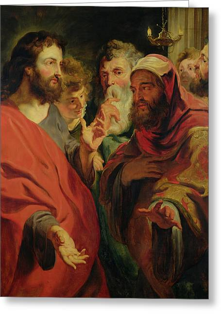 Christ Instructing Nicodemus Greeting Card by Jacob Jordaens