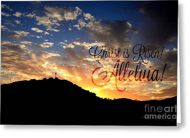 Christ Is Risen Greeting Card by Sharon Soberon