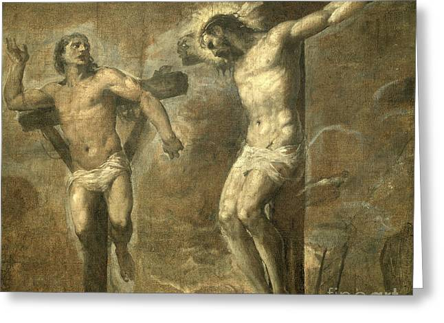 Christ On The Cross And The Good Thief Greeting Card
