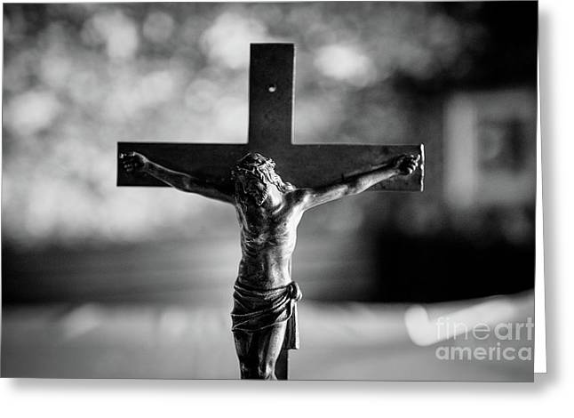 Greeting Card featuring the photograph Christ On The Cross by Dean Harte