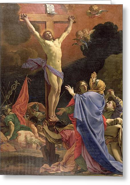 Christ On The Cross Greeting Card by Michel Dorigny