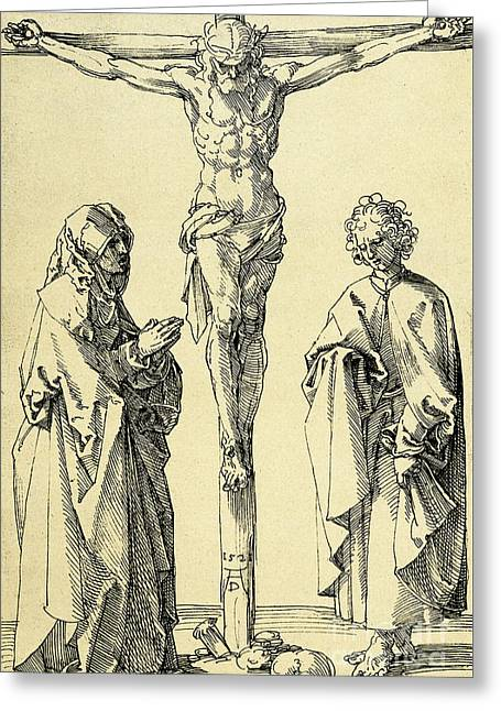Christ On The Cross With Mary And John The Baptist Greeting Card