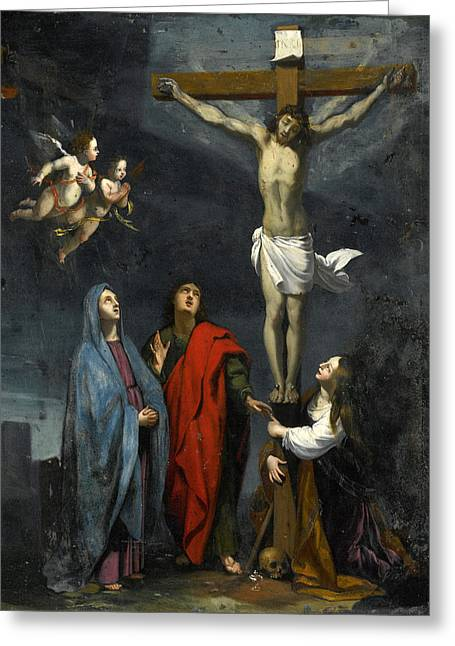 Christ On The Cross With Saint John And Mary Magdalene Greeting Card by Follower of Jacques Stella