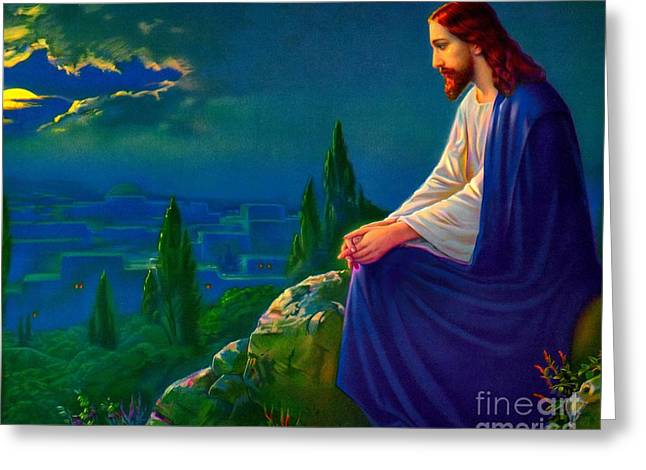 Christ On The Mount Of Olives Greeting Card
