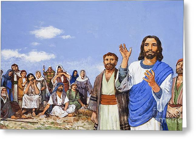 Christ Preaching Greeting Card by Clive Uptton