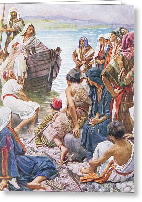 Christ Preaching From The Boat Greeting Card