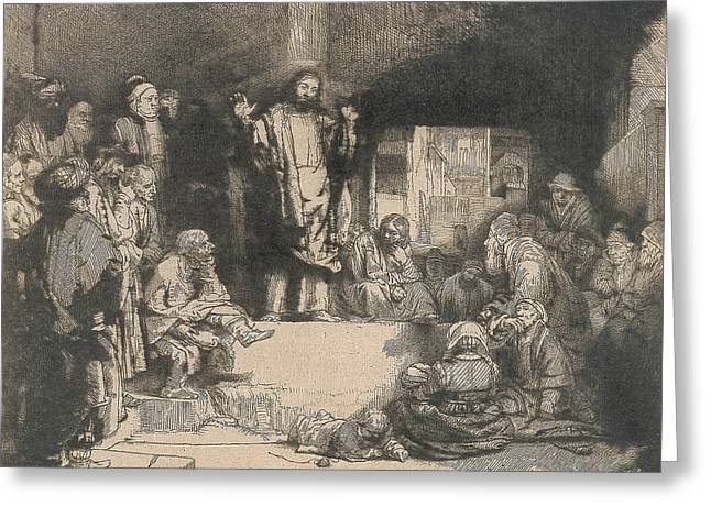 Christ Preaching Greeting Card by Rembrandt