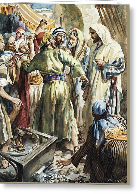 Christ Removing The Money Lenders From The Temple Greeting Card