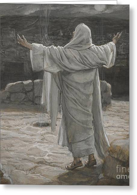 Outstretched Arm Paintings Greeting Cards - Christ Retreats to the Mountain at Night Greeting Card by Tissot