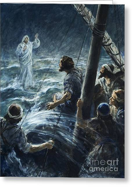 Christ Walking On Water Greeting Cards - Christ walking on the sea of Galilee Greeting Card by Henry Coller