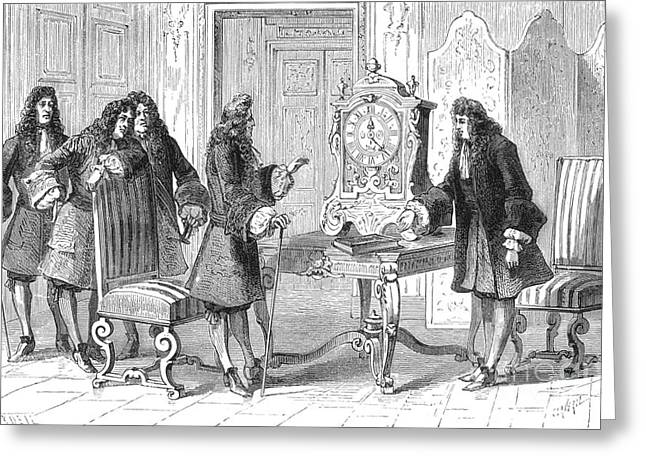 Christiaan Huygens Presents To Louis Xiv Greeting Card by Science Source