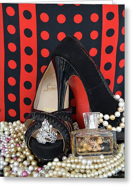 Christian Louboutin And Dior Greeting Card by To-Tam Gerwe