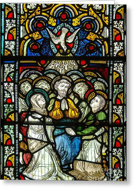 Christian Pentecost On A Stained Glass At Christ Chuch Cathedral Dublin Greeting Card by RicardMN Photography