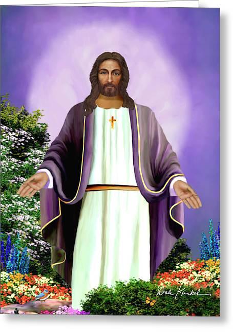 Christian Religious Art Of Jesus Paintings Jesus Is Everlasting Life Greeting Card by Dale Kunkel Art