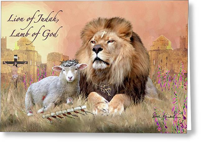 Christian Religious Art Of Jesus Paintings Lion Of Judah Lamb Of God Greeting Card by Dale Kunkel Art