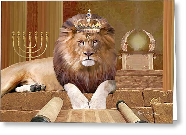 Christian Religious Art Of Jesus Paintings Lion Of The Tribe Of Judah Greeting Card by Dale Kunkel Art