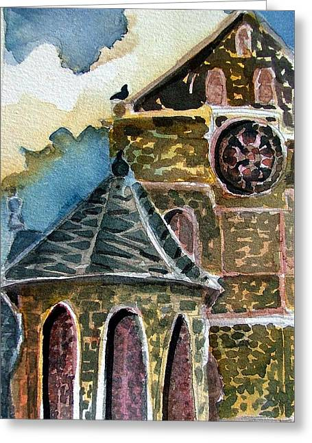 Cantebury Cathedral, Christian Well Greeting Card by Mindy Newman