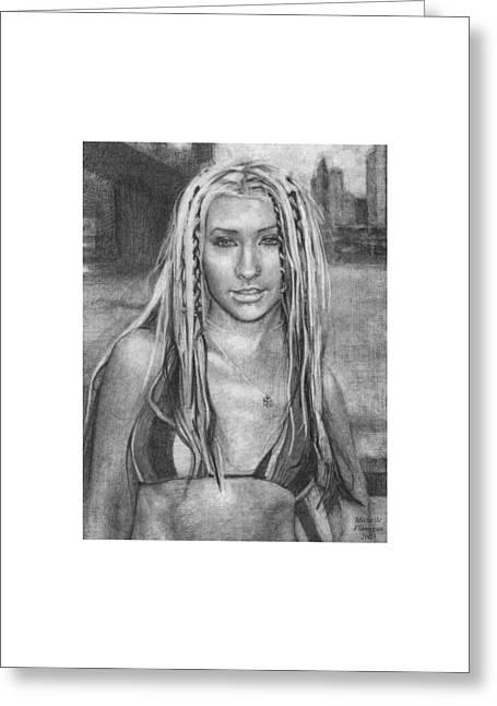 Christina Aguilera Greeting Card by Michelle Flanagan