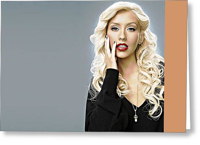 Christina Aguilera Greeting Card by Iguanna Espinosa