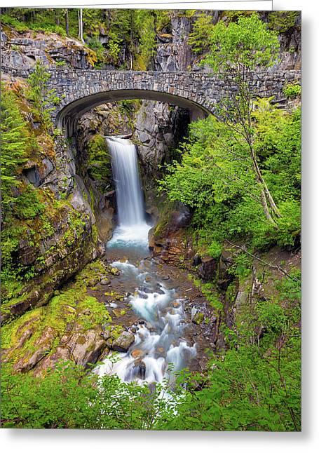 Christine Falls Under Bridge In Mt Rainier National Park Greeting Card