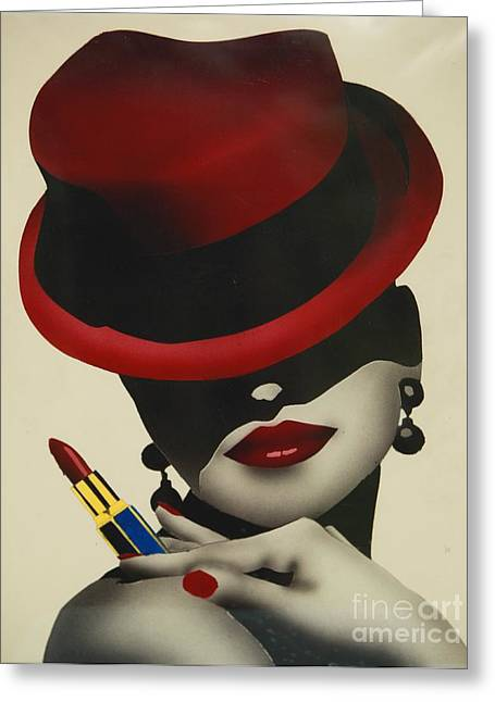 Christion Dior Red Hat Lady Greeting Card