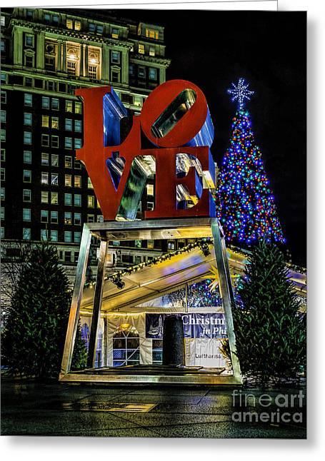 Christmas - Love Park  Greeting Card by Nick Zelinsky
