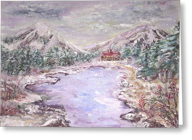 Christman In The Mountains  Greeting Card by Mary Sedici